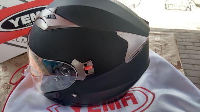 YEMA Helmet YM-627 Dual Visor Open Face Motorcycle Helmet-Black XL