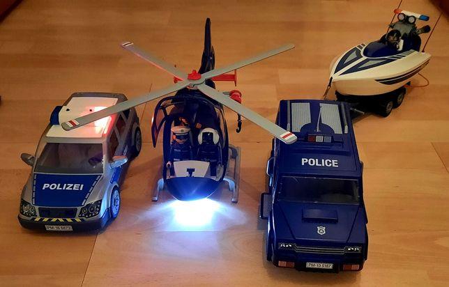 Playmobil Police vehiculele politiei elicopter, blindata, salupa.