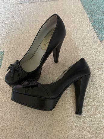 Pantofi piele negri, platforma, toc inalt, Il Passo, 37