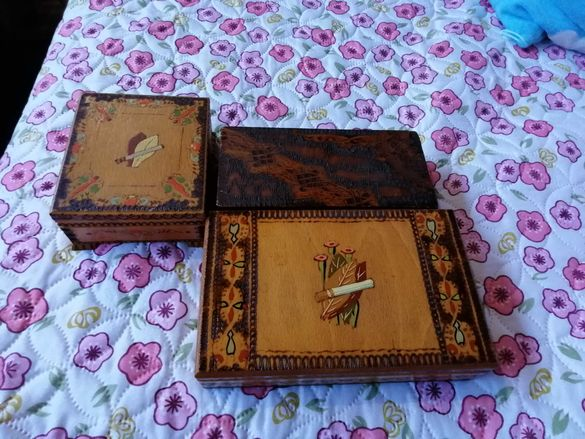 Старинни дървени табакери и кутия за бижута