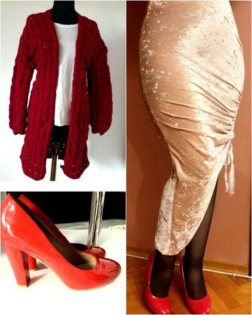 Fustă catifea cardigan vișiniu pantofi lac roșu 38