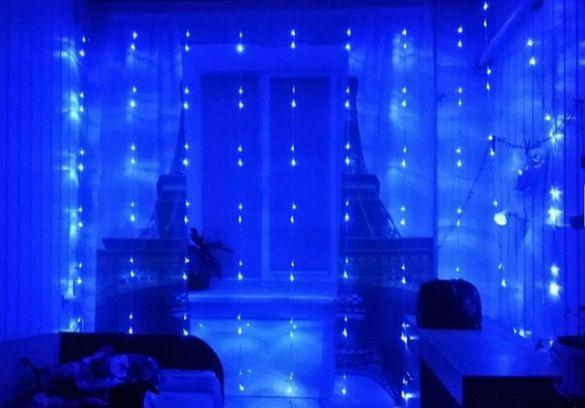 ЛЕД завеса Син цвят ново 3х3м