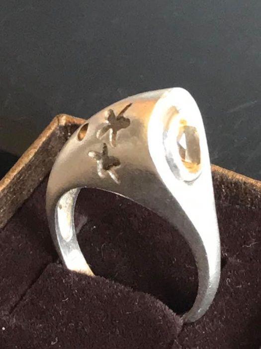 Inel argint placat cu aur alb 14k si citrin Brasov - imagine 1
