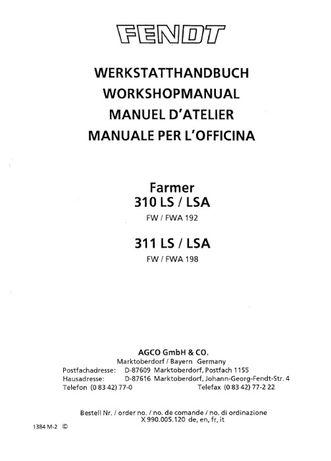 Manual service tractor Fendt 310 311 ls lsa carte poze reparatii