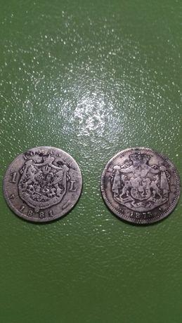 monede argint 1 leu 1881+1873