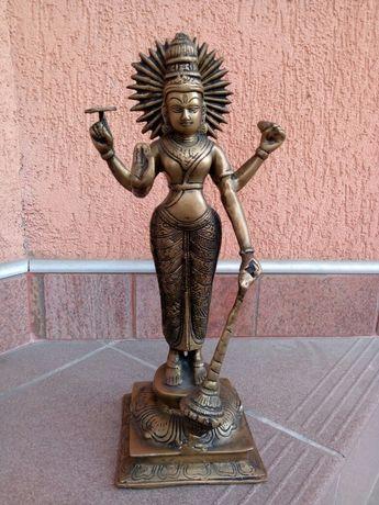 Statueta/ statuie Shakti, bronz masiv, India, 37 cm