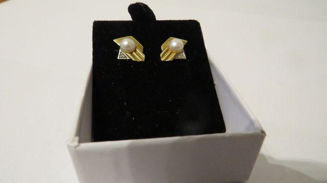 Cercei aur 14k, perla naturala si diamant