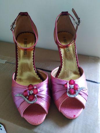 Бални официални обувки розови с камъчета