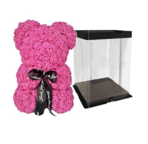 Ursulet trandafiri spuma cutie cadou inclusa 30cm diverse culori