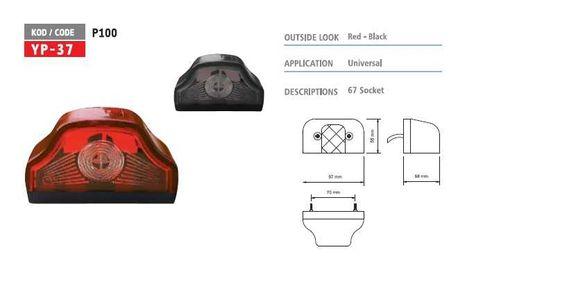 Плафон за рег. номер на товарен автомобил тип Кобра / червен или черен