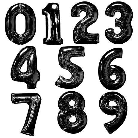 Балони фолио цифри черни 80 см