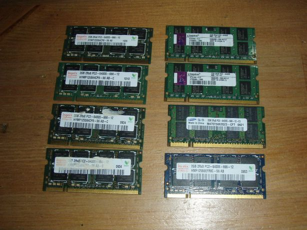 Kit 4 Gb laptop (2x2 Gb) DDR2 PC 6400 800 MHZ Samsung, Hynix, Kingston