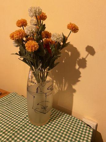 Vaza de sticla superba cu flori 29cm