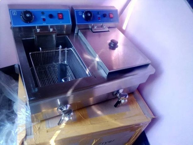 Friteuza,fripteusa,fripteoza 2x13 litri,7 kw,cu robineti,inox,cartofi