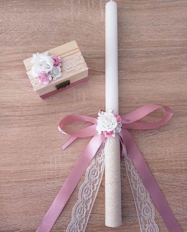 Ритуална сватбена свещ и кутия за халки