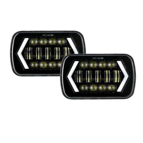 """Комплект Правоъгълни LED фарове 5x7"""" 120W H4 букса, 4 светлини"""