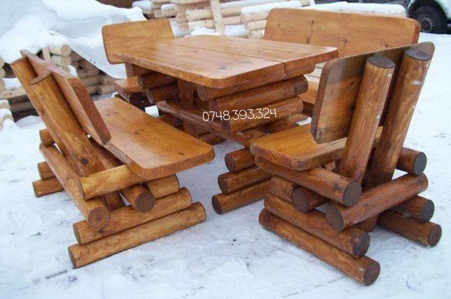 Set masa cu băncuțe scaune lemn masiv balansoar leagan lemn foișor