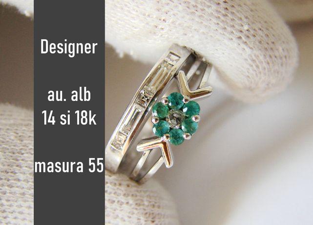 Set Inele Aur Alb 14 Si 18K Cu Diamante Si Smaralde