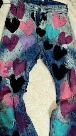 Djofra уникални дамски дънки ръчно рисувани 29 номер