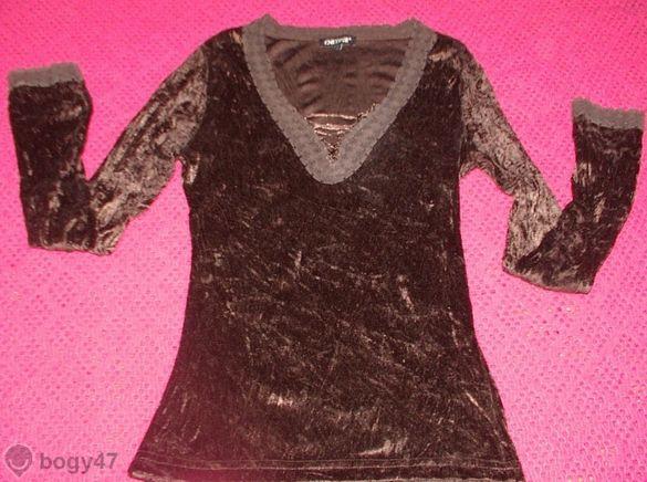 дамска блуза с намачкан ефект деколте с връзки