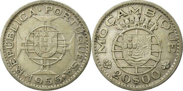 Moneda RARA ARGINT 20 escudos 1955 Republica Portugheza Mozambic , XF