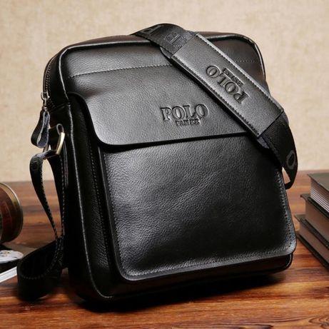 Мъжка чанта POLO Fanke Черна и Тъмно кафява НАЛИЧНА - ПО ДЕБЕЛАТА КОЖА