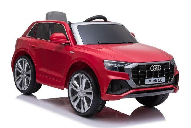 Mașinuță electrică Audi Q8, Roșu, licențiat, scaun piele eco 2 motoare