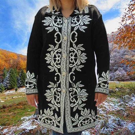 Pulover tricotat tip Cardigan Ionela Negru cu model alb si buzunare