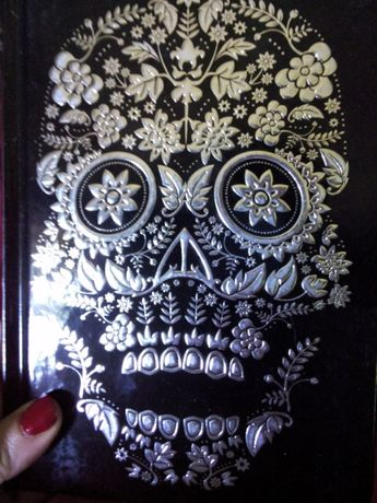 Agenda lux negru&CRANIU argintiu Sugar Skull/jurnal magie/pag argintii