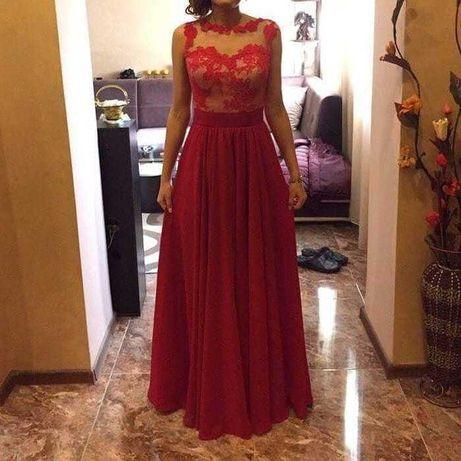 Елегантна дълга рокля, цвят череша
