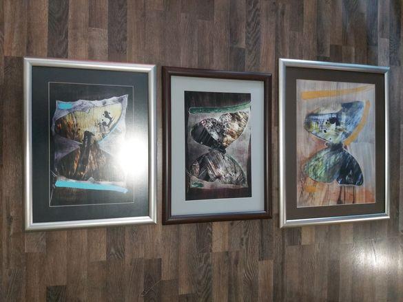 Комплект 3 картини с паспарту и рамки