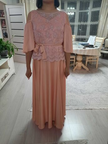 продам нарядное платье-костюм нежно розового-персикового цвета в пол