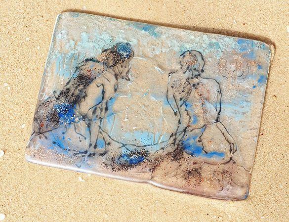 """Картина рисувана върху стъкло """"мъж и жена, той и тя."""""""