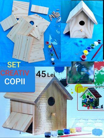SET CREATIV Pt Copii din lemn cu toate Accesoriile montare decorare