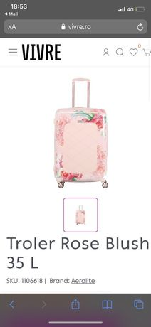 Troler roz flori pretabil avion