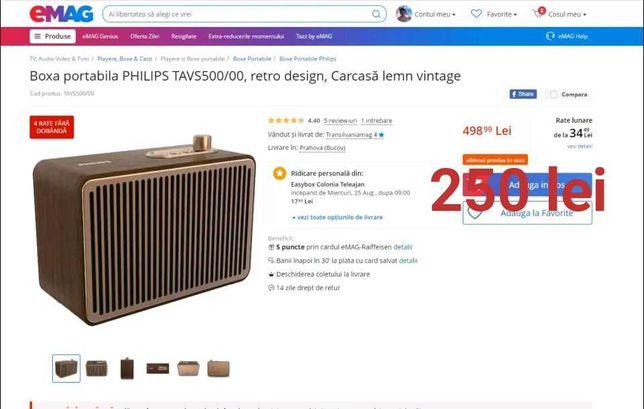 boxa portabila PHILIPS TAVS500/00, retro design, Carcasă lemn vintage