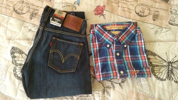 Нови дънки Левис и риза с къс ръкав Холистер