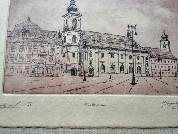 Gravură Piața Mare Sibiu.
