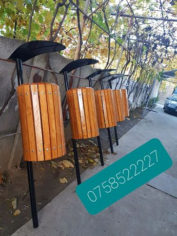 Cos de gunoi cu elemente din lemn de fag