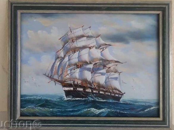 Картина масло на платно дървена рамка кораб, море живопис