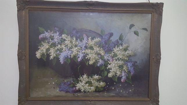 """Tablou """"Cos de nuiele cu flori de liliac"""" de Sandulescu"""