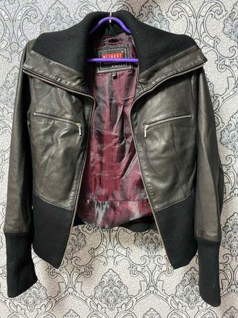 Куртка натуральная  кожа. Жилет натуральный мех.