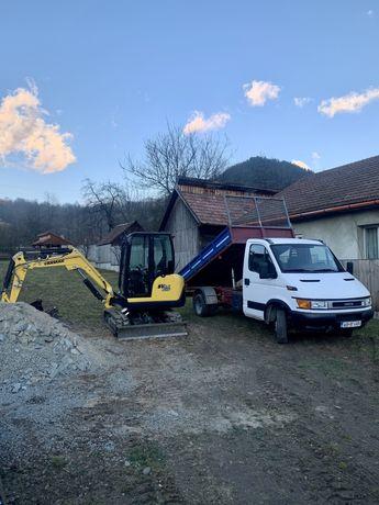 Sapaturi miniexcavator 3 tone si camioneta basculabila