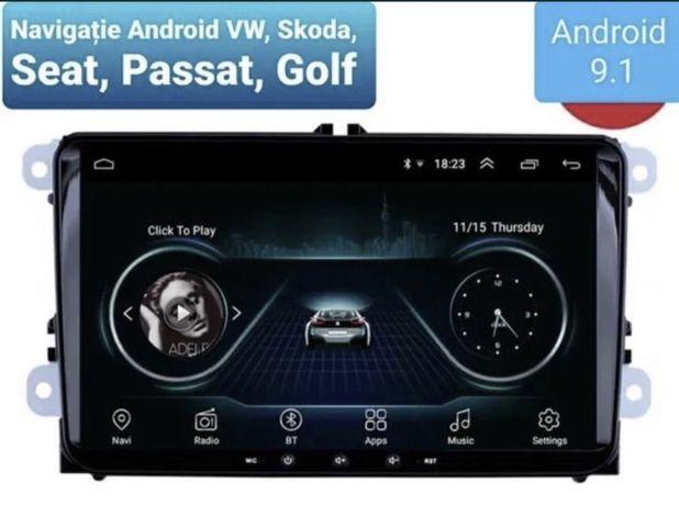 Navigatie GPS Android 9 VW Golf 6 si 5 Passat B6 B7 CC EOS Tiguan  pol