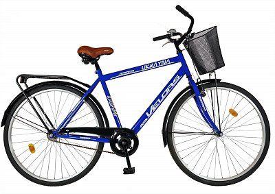 """Bicicleta CITY 28"""" VELORS, albastra, cos de depozitare"""