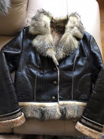 Кожух от агнешка кожа, топло яке с яка от заек и кожено яке