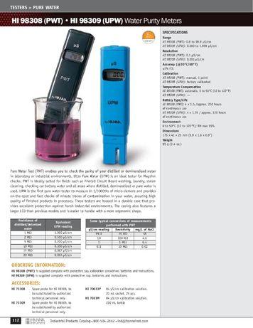 Testere puritate apa acvariu filtru osmoza PWT TDS