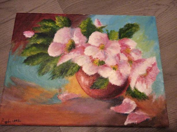 "Tablou pictat manual ""Vaza cu flori"