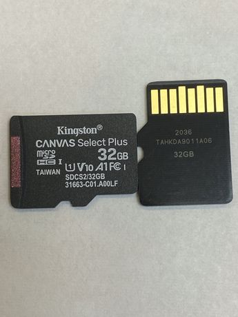 Memory card SD 32 gb 10 class Kingston canvas plus U1 A1 карти памет