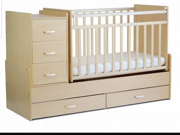 Детская кроватка-трансформер с комодом СКВ-5 маятник+2 ящика